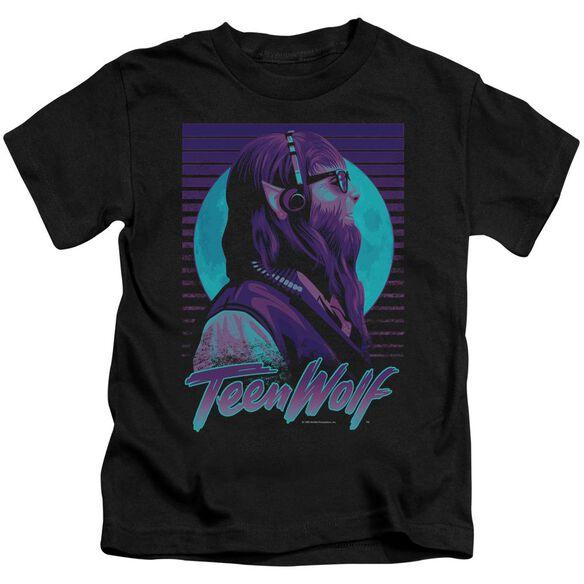 Teen Wolf Headphone Wolf Short Sleeve Juvenile Black T-Shirt
