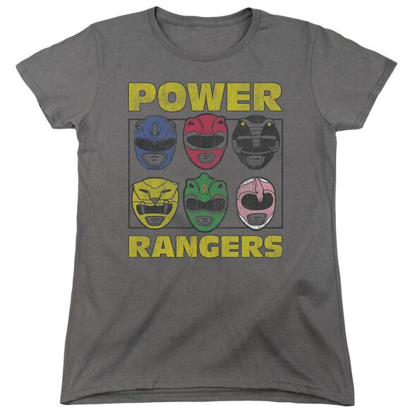 Power Rangers Ranger Heads Short Sleeve Womens Tee T-Shirt