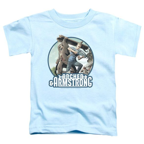 Archer & Armstrong Trunk And Crossbow Short Sleeve Toddler Tee Light Blue T-Shirt