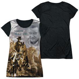 John Wayne Ride Em Cowboy Short Sleeve Junior Poly Black Back T-Shirt