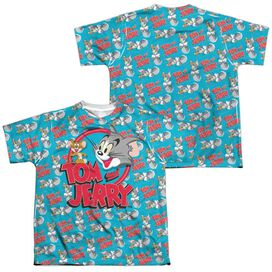 Tom And Jerry Double Trouble (Front Back Print) Short Sleeve Youth Poly Crew T-Shirt