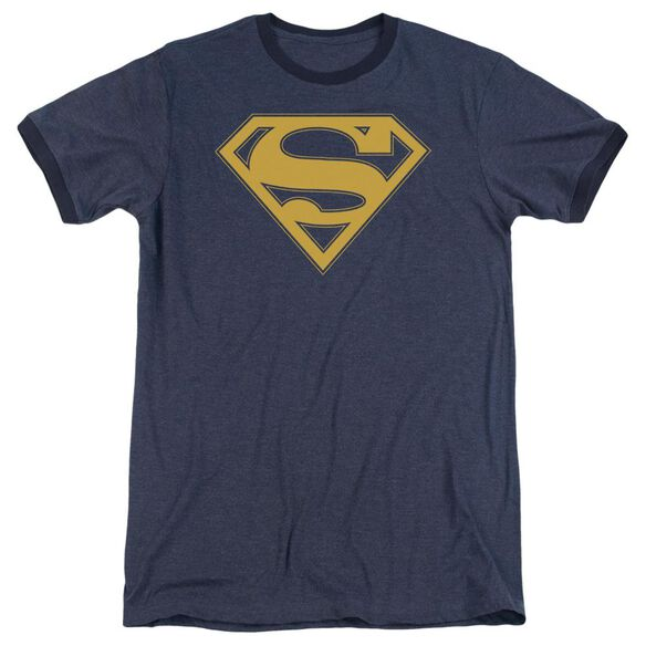 Superman Maize & Blue Shield Adult Heather Ringer Navy