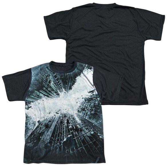 Dark Knight Rises Big Poster Short Sleeve Youth Front Black Back T-Shirt