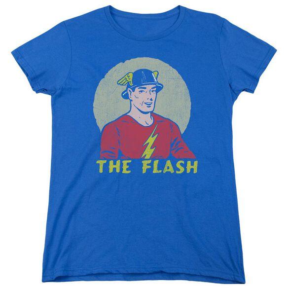 Dc Flash Faded Circle Short Sleeve Womens Tee Royal T-Shirt