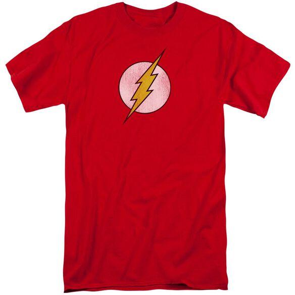Dc Flash Flash Logo Distressed Short Sleeve Adult Tall T-Shirt