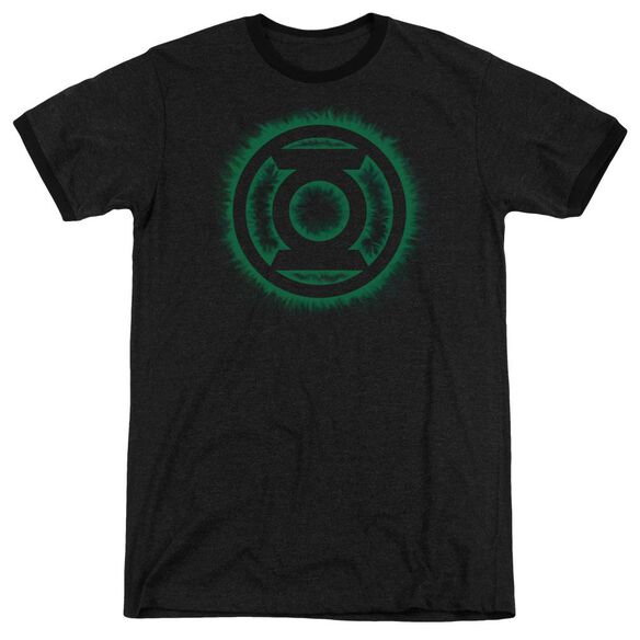 Green Lantern Green Flame Logo Adult Heather Ringer