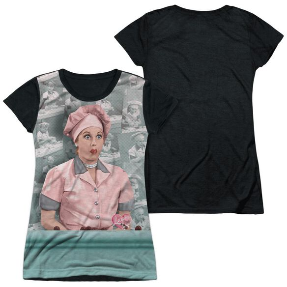 I Love Lucy Chocolate Belt Short Sleeve Junior Poly Black Back T-Shirt