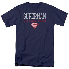 Superman Lifting Team Short Sleeve Adult Navy T-Shirt