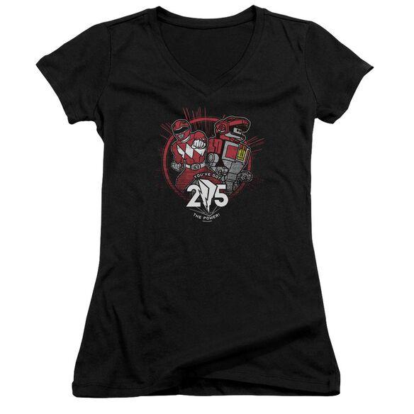 Power Rangers Red 25 Junior V Neck T-Shirt