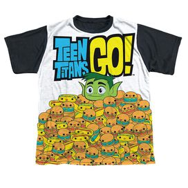 Teen Titans Go Burgers & Dogs Short Sleeve Youth Front Black Back T-Shirt