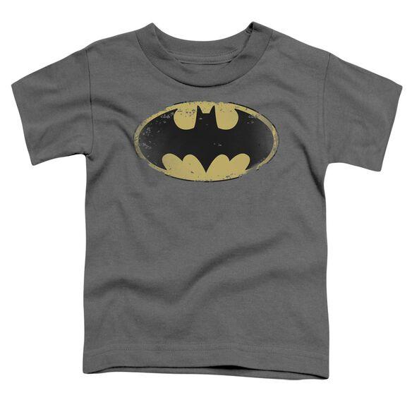 Batman Distressed Shield Short Sleeve Toddler Tee Charcoal Md T-Shirt