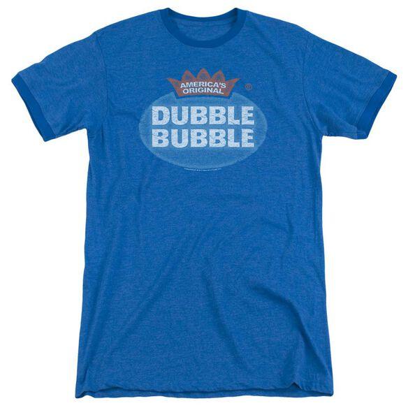 Dubble Bubble Vintage Logo Adult Heather Ringer Royal Blue