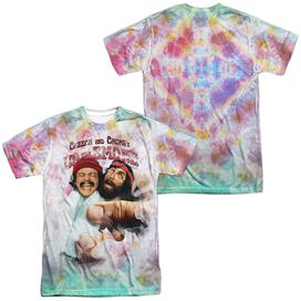UP IN SMOKE FRIED TIE DYED (FRONT/BACK PRINT) - S/S ADULT 100% POLY CREW - WHITE T-Shirt