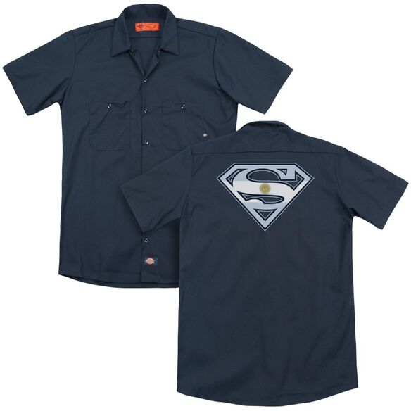 Superman Argentinian Shield (Back Print) Adult Work Shirt