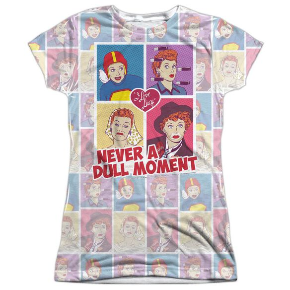 I Love Lucy All Over Panels Short Sleeve Junior Poly Crew T-Shirt