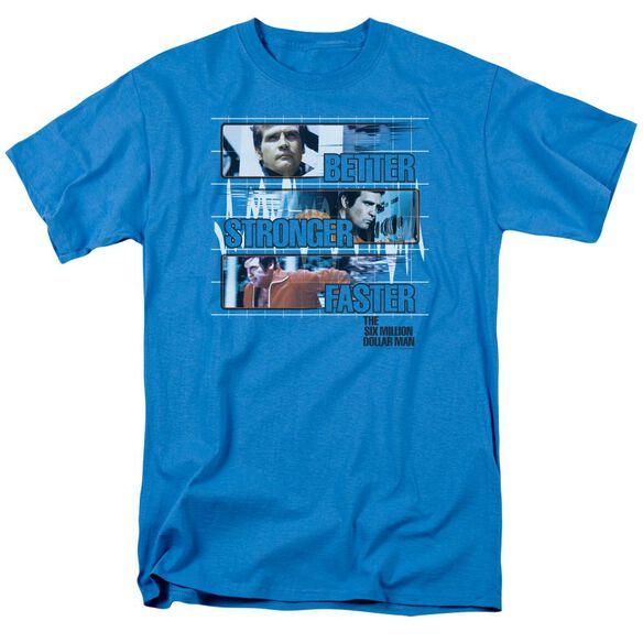 Six Million Dollar Man Better Stronger Faster Short Sleeve Adult Turquoise T-Shirt