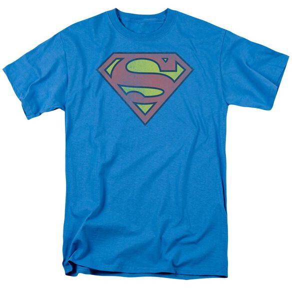 Dc Retro Supes Logo Distressed Short Sleeve Adult Turquoise T-Shirt