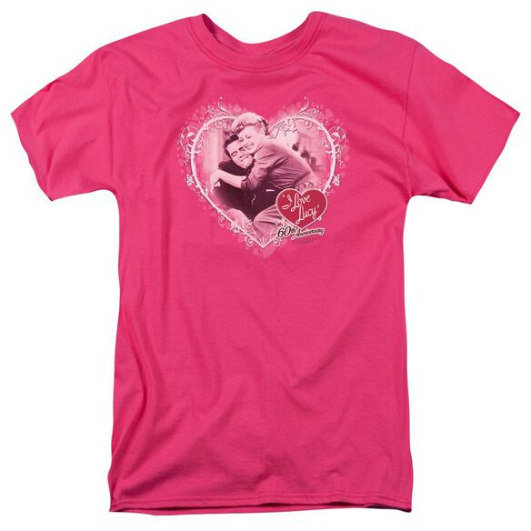I Love Lucy Happy Anniversary Short Sleeve Adult Hot Pink T-Shirt
