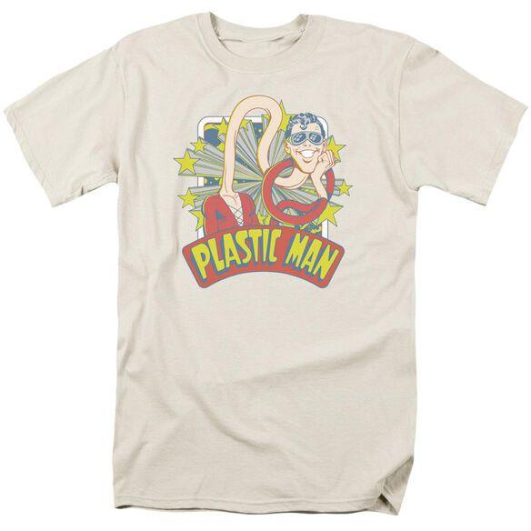 Dc Plastic Man Stars Short Sleeve Adult Cream T-Shirt