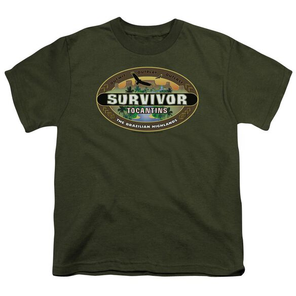 Survivor Tocantins Logo Short Sleeve Youth Military T-Shirt