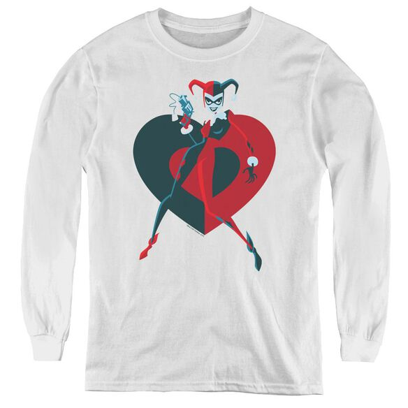Batman Harely Heart - Youth Long Sleeve Tee - White