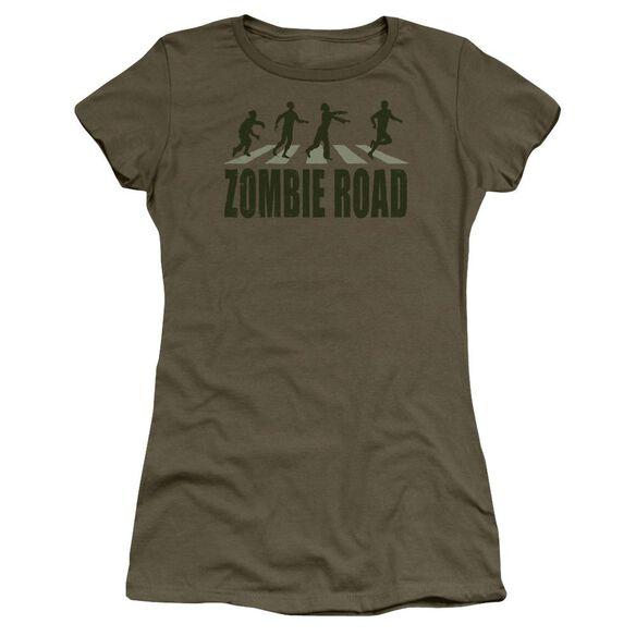 Zombie Road Short Sleeve Junior Sheer Military T-Shirt