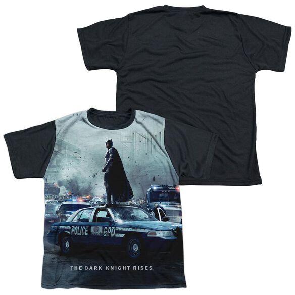 Dark Knight Rises Standoff Short Sleeve Youth Front Black Back T-Shirt