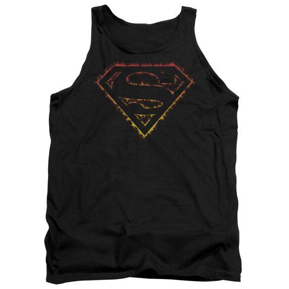 Superman Flame Outlined Logo - Adult Tank - Black