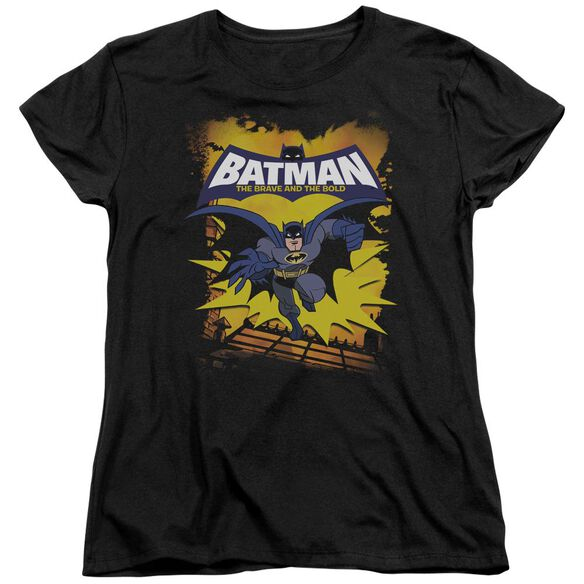 Batman Bb Rooftop Leap Short Sleeve Womens Tee Black T-Shirt