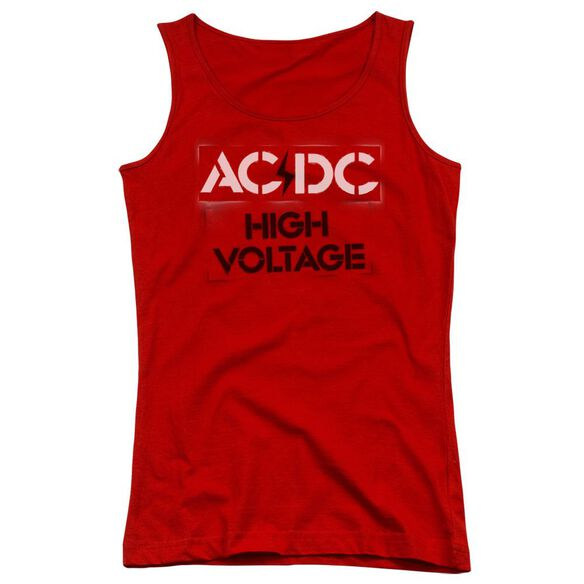 Acdc High Voltage Stencil Juniors Tank Top