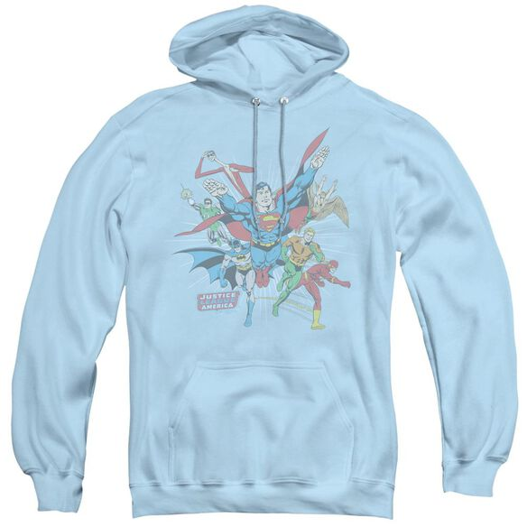 Dc Lead The Charge - Adult Pull-over Hoodie - Light Blue