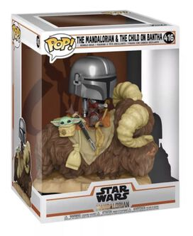 Funko Pop! Deluxe: Star Wars - The Mandalorian - Mando on Bantha with Child in Bag