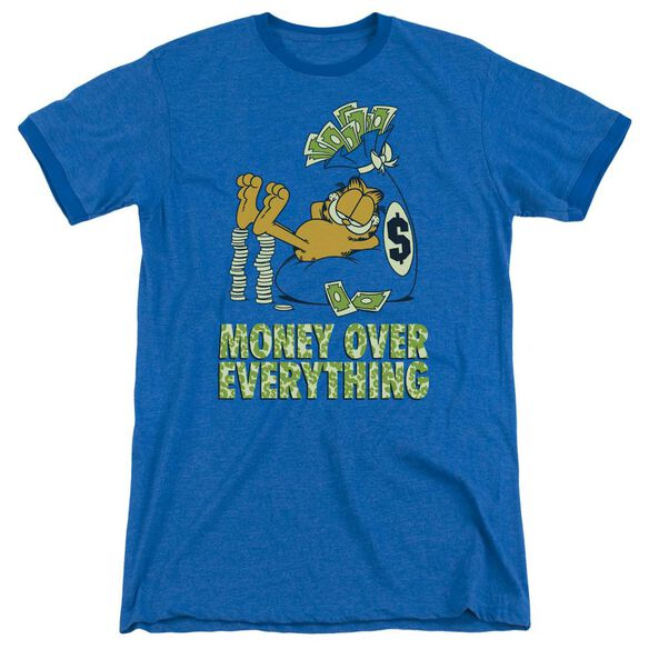 Garfield Money Is Everything Adult Heather Ringer Royal Blue