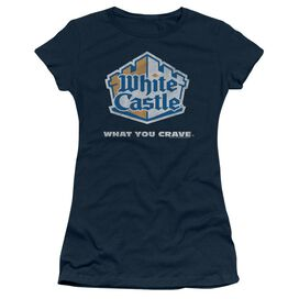 WHITE CASTLE DISTRESSED LOGO - S/S JUNIOR SHEER - NAVY T-Shirt