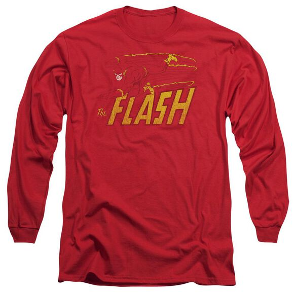 Dc Flash Speed Distressed Long Sleeve Adult T-Shirt