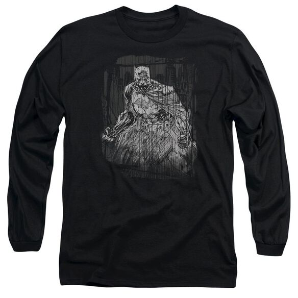 Batman Pencilled Rain Long Sleeve Adult T-Shirt