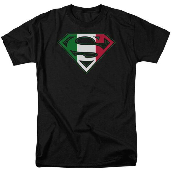 SUPERMAN ITALIAN SHIELD - S/S ADULT 18/1 - BLACK T-Shirt