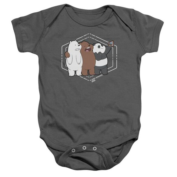 We Bare Bears Selfie Infant Snapsuit Charcoal
