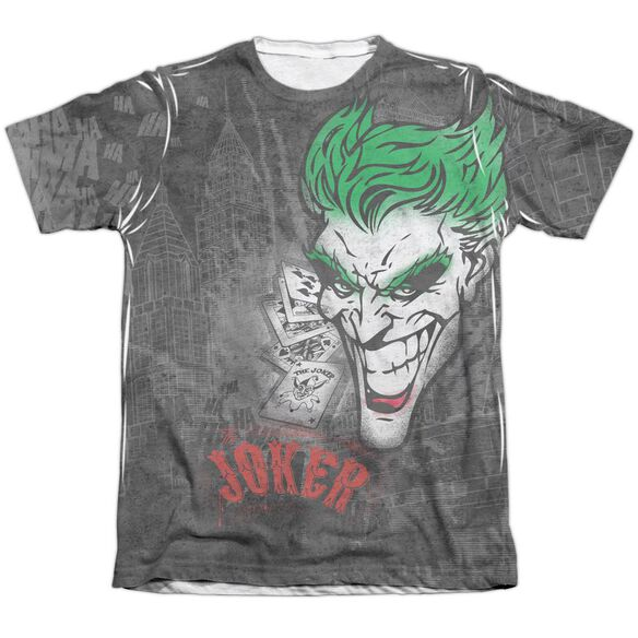 Batman Joker Sprays The City Adult 65 35 Poly Cotton Short Sleeve Tee T-Shirt