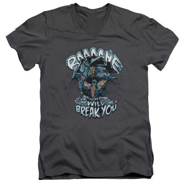 BATMAN BANE WILL BREAK YOU - S/S ADULT V-NECK - CHARCOAL T-Shirt