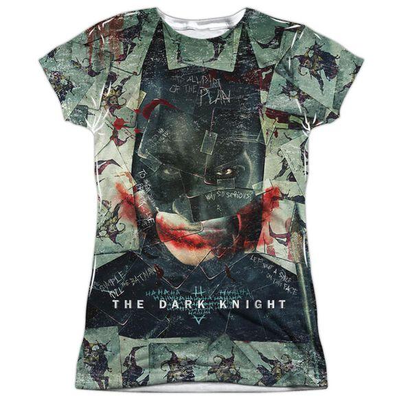 Dark Knight Stacked Hand Short Sleeve Junior Poly Crew T-Shirt