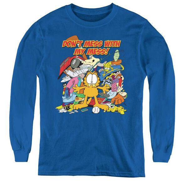 Garfield My Mess - Youth Long Sleeve Tee - Royal Blue