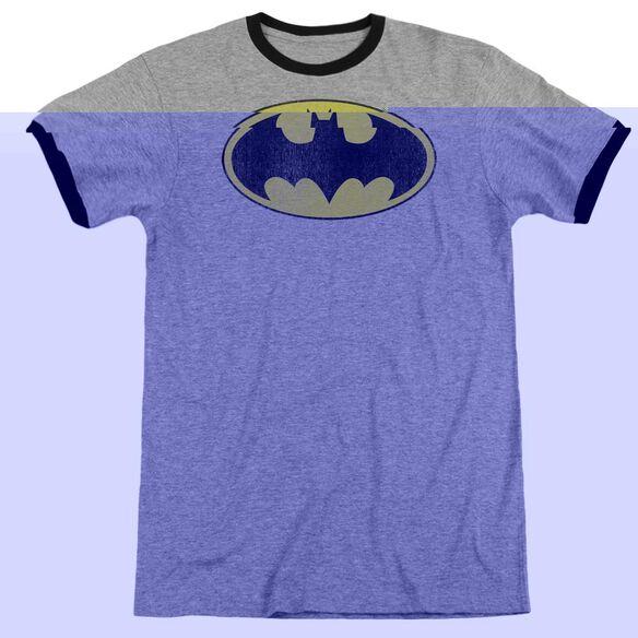 Dc Retro Bat Logo Distressed - Adult Ringer - Heather/black