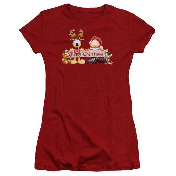 Garfield Christmas Banner Premium Bella Junior Sheer Jersey