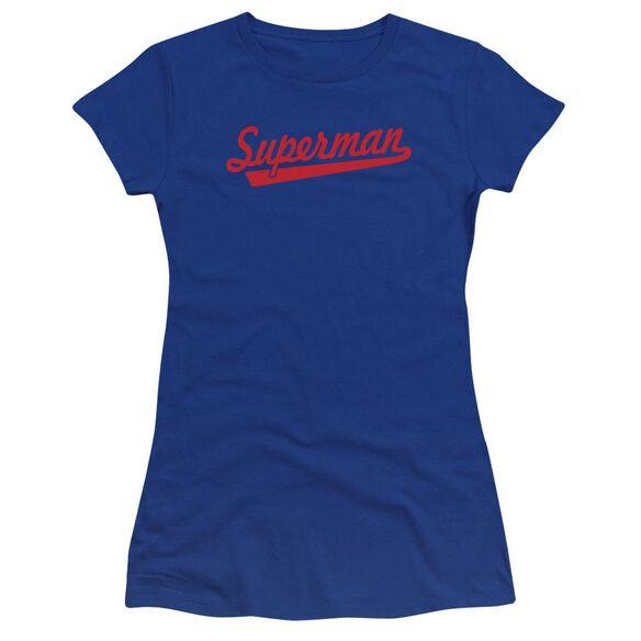 Superman S Tail Premium Bella Junior Sheer Jersey Royal