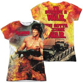 Rambo:First Blood Ii Become War (Front Back Print) Short Sleeve Junior Poly Crew T-Shirt