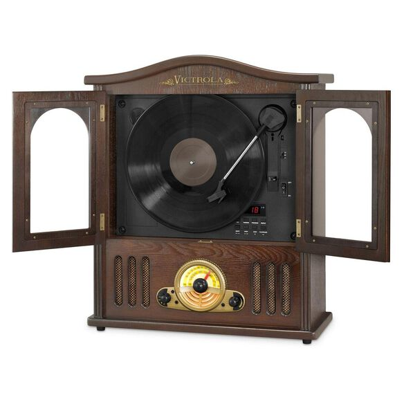 Victrola Wood Wall Mount Bluetooth Record Player with CD and 3-speed Turntable