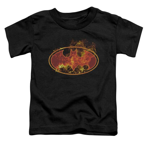 BATMAN FLAMES LOGO - S/S TODDLER TEE - BLACK - T-Shirt