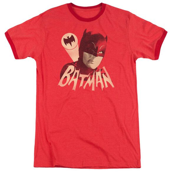 Batman Classic Tv Bat Signal Adult Heather Ringer Red