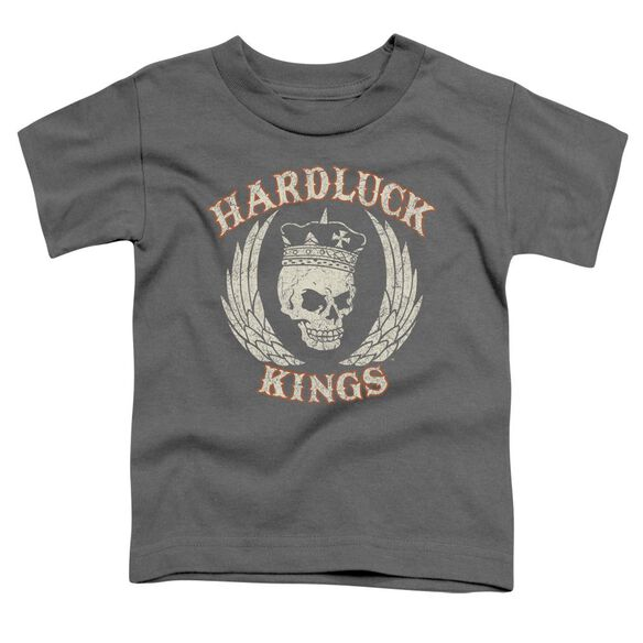 Hardluck Kings Red Cream Distressed Short Sleeve Toddler Tee Charcoal T-Shirt